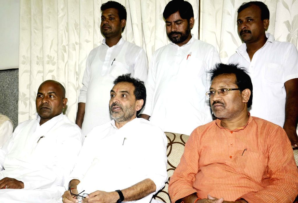 Union Minister of State for Rural Development Upendra Kushwaha addresses a press conference in Patna on Sept 11, 2014.