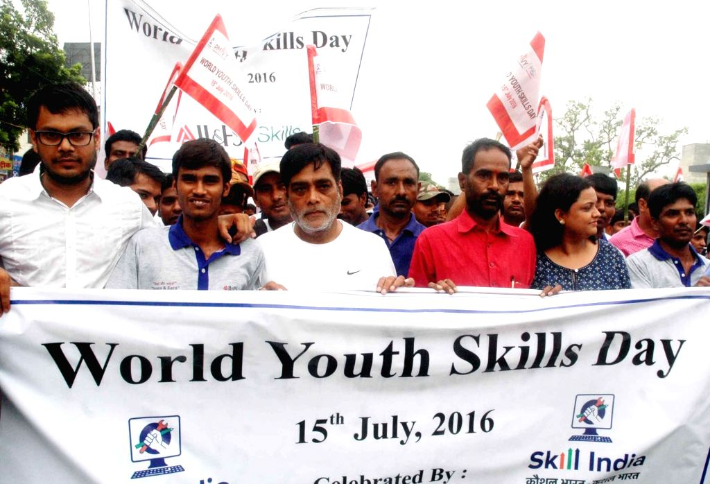 Union Minister of State for Rural Development Ram Kripal Yadav leads during a rally organised on World Youth Skills Day in Patna, on July 15, 2016.