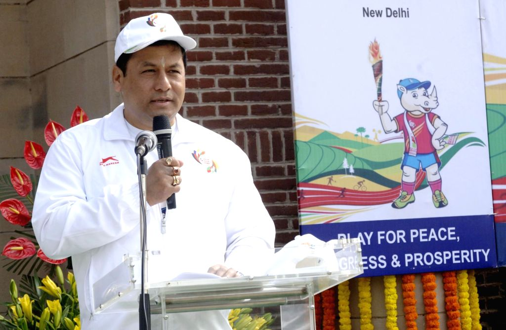 Union Minister of State for Youth Affairs and Sports (Independent Charge) Sarbananda Sonowal addresses at lighting of the South Asian Games Torch and the flag off Torch Relay ceremony from ...