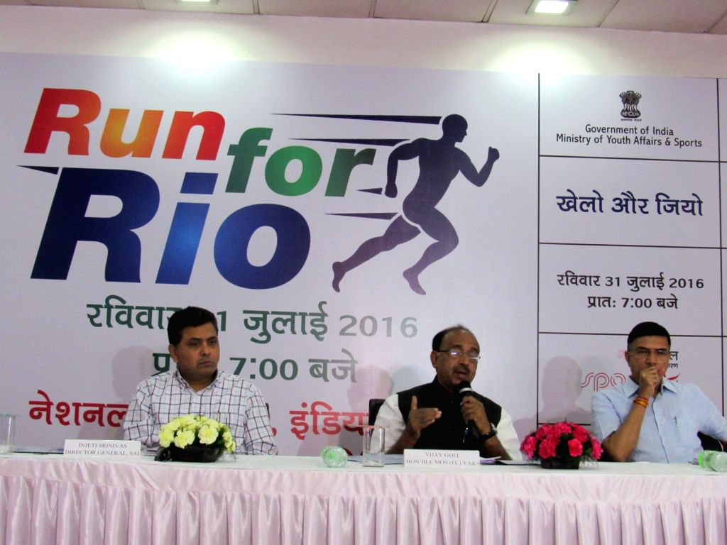 Union Minister of State for Youth Affairs and Sports Vijay Goel addresses a press conference on 'Run for Rio Olympics', in New Delhi on July 25, 2016. Also seen the Secretary, Ministry of ... - Rajiv Yadav