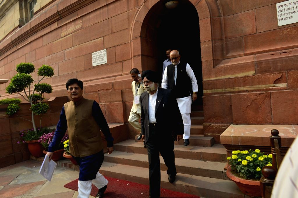 Union Minister of State (Independent Charge) for Power, Coal and New and Renewable Energy, Piyush Goyal at the Parliament in New Delhi on Nov 27, 2015.