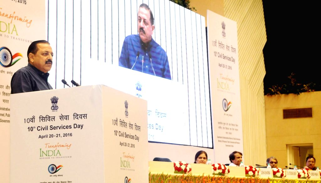 Union Minister of State PMO Dr Jitendra Singh addresses at the inauguration of the 10th Civil Services Day, in New Delhi on April 20, 2016. - Jitendra Singh
