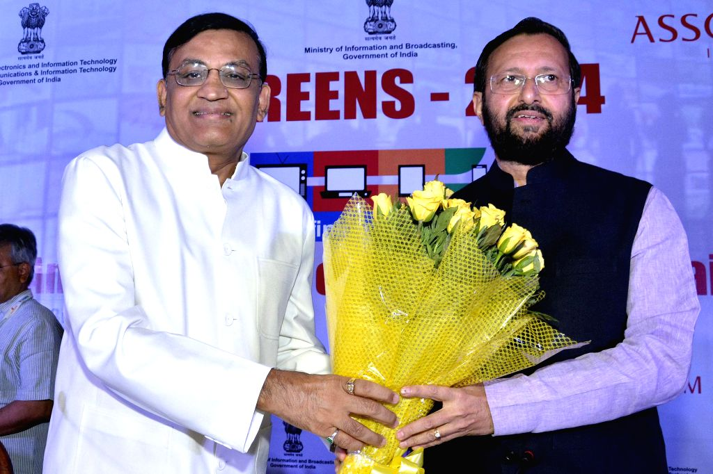 Union Minister of State Union Information and Broadcasting Minister Prakash Javadekar during the 8th Annual Summit on Media and Entertainment- SCREENS-2014 in New Delhi on June 23, 2014. - Prakash Javadekar