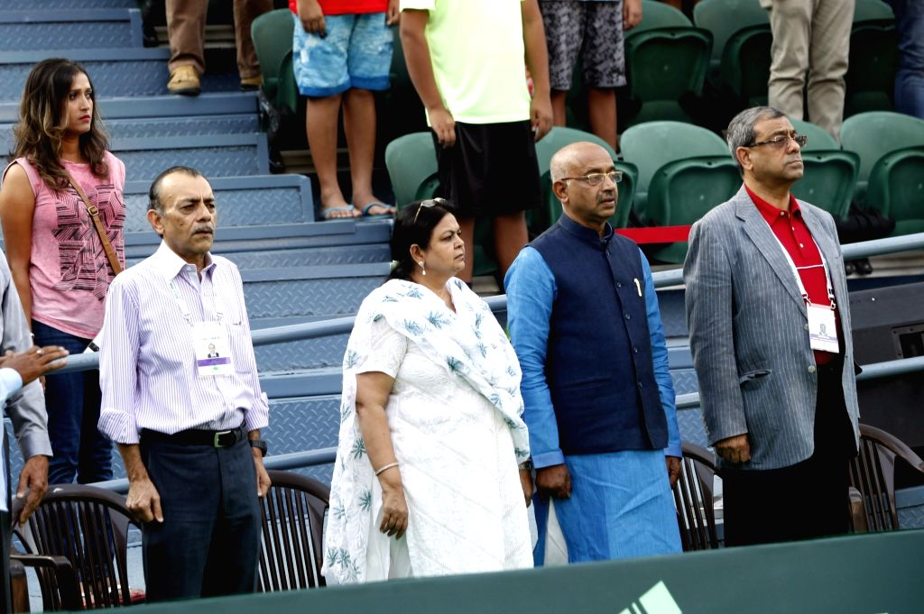 Union Minister of Youth Affairs and Sports Vijay Goel during the Davis Cup World Group playoff opening ceremony at the Delhi Lawn Tennis Association complex in New Delhi on Sept 16, 2016.