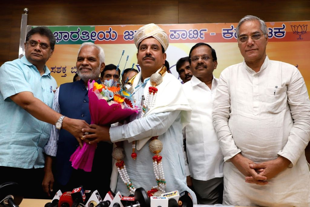 Union Minister Prahalad Joshi during a felicitation programme at Karnataka BJP office in Bengaluru on June 1, 2019. - Prahalad Joshi
