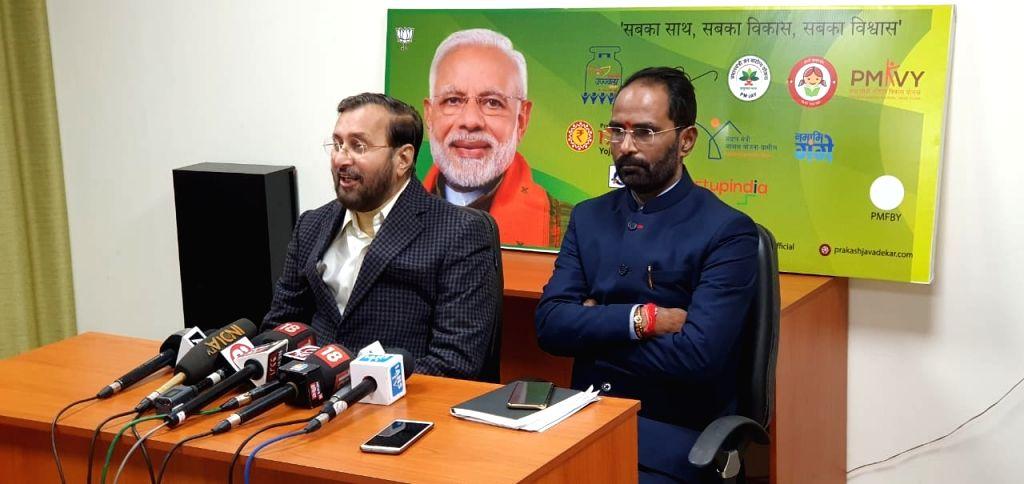 Union Minister Prakash Javadekar talks to the media in New Delhi on Jan 9, 2020. - Prakash Javadekar