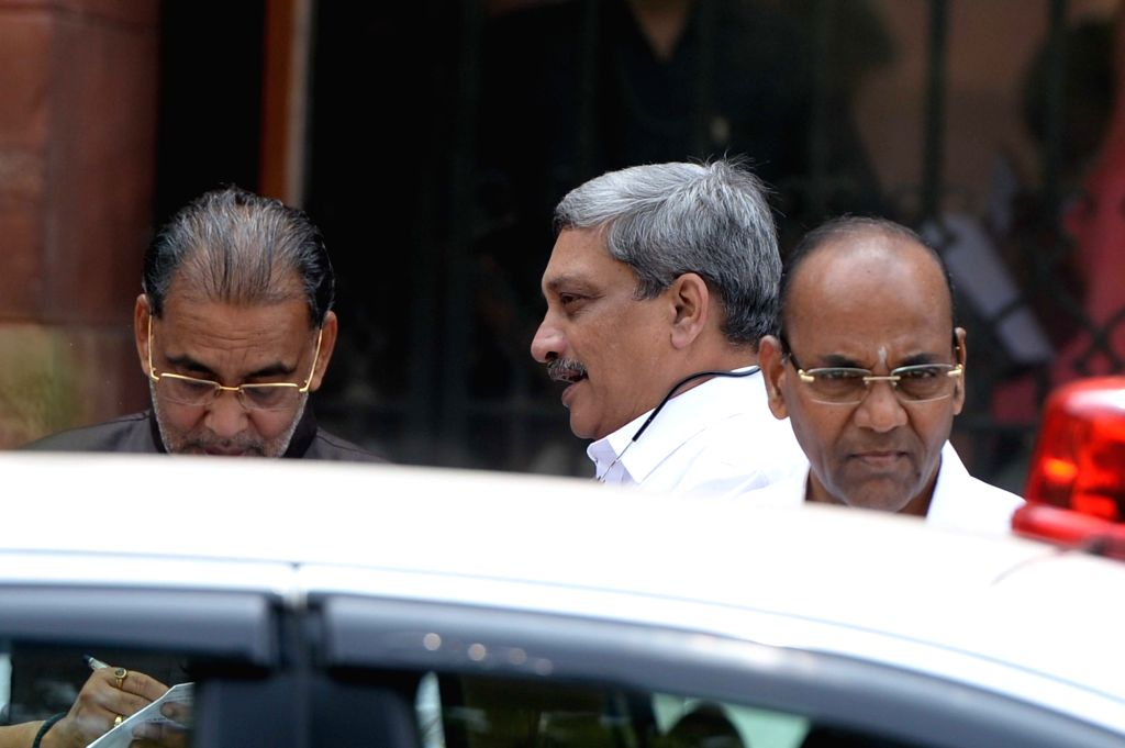 Union Minister Radha Mohan Singh, Manohar Parrikar and Thawar Chand Gehlot come out after Cabinet Meeting at South Block in New Delhi on Sept 28, 2016. - Radha Mohan Singh