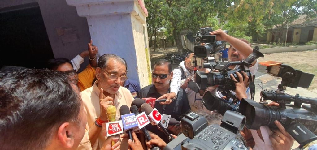 Union Minister Radha Mohan Singh talks to press in Motihari during the sixth phase of 2019 Lok Sabha elections, on May 12, 2019. - Radha Mohan Singh