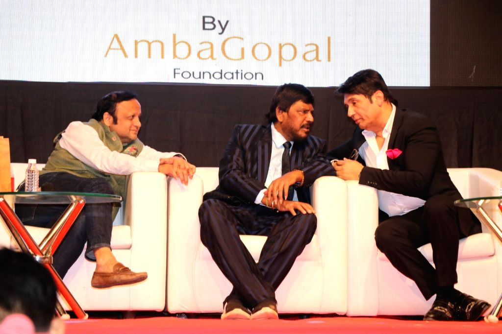 Union Minister Ramdas Athawale and actor Shekhar Suman at the launch of Ambagopal Foundation Cancer Initiative on the occasion of World Cancer Day, in Mumbai on Feb 4, 2020. - Ramdas Athawale and Shekhar Suman