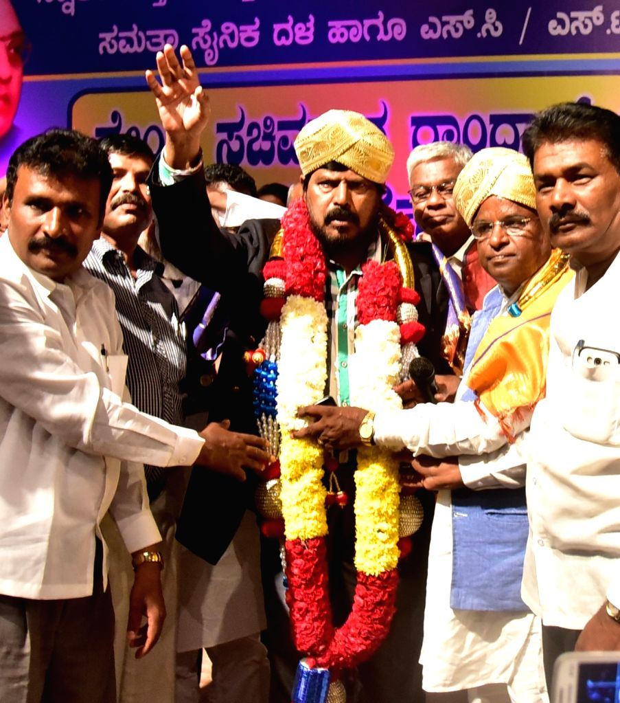 Union Minister Ramdas Athawale being felicitated  Samata Sainika Dal and SC/ST Workers Association during a programme in Bengaluru on Oct 26, 2016. - Ramdas Athawale