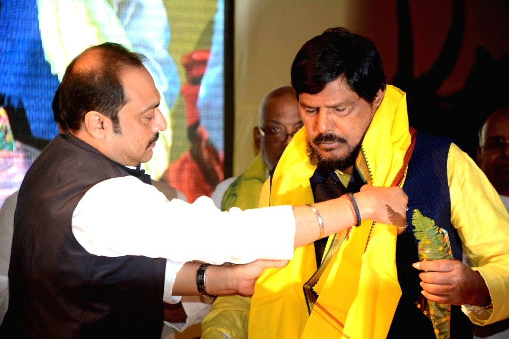 Union Minister Ramdas Athawale during a BJP programme in Patna on Oct 25, 2018. - Ramdas Athawale