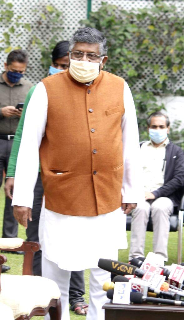 Union Minister,  Ravi Shankar Prasad address a press conference  on upcoming J&K election at his residence , Mother Teresa Crescent, New Delhi on Monday (photo: Qamar Sibtain)