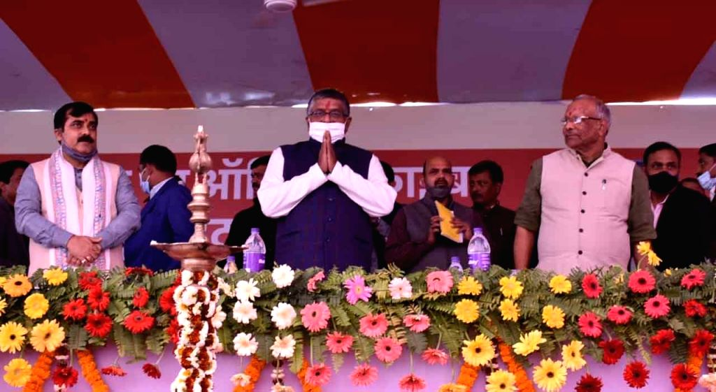 "Union Minister Ravi Shankar Prasad along with deputy CM Tarkishore Prasad during the inauguration "" Har Ghar Tak Fiber' at Sampatchak in Patna on Saturday February 20,2021. - Ravi Shankar Prasad"