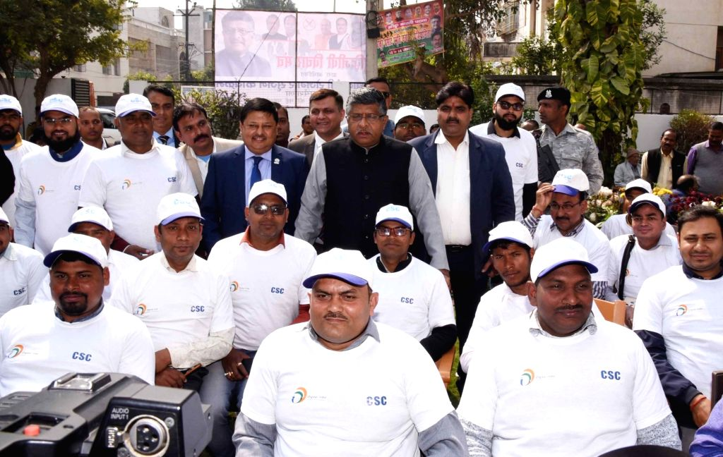 Union Minister Ravi Shankar Prasad at the flagging off ceremony of mobile vans to create awareness among people about the 'Digital and financial literacy for everyone' initiative, in Patna on ... - Ravi Shankar Prasad