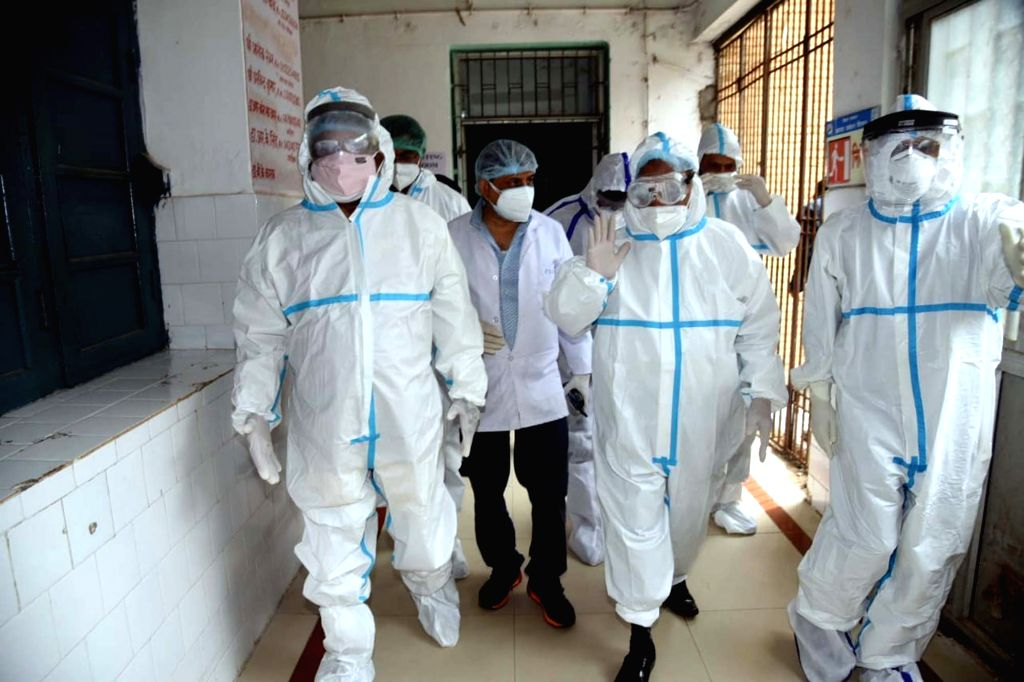Union Minister Ravi Shankar Prasad during an inspection visit to the COVID-19 isolation ward at Patna Medical College and Hospital (PMCH), on Aug 13, 2020. - Ravi Shankar Prasad