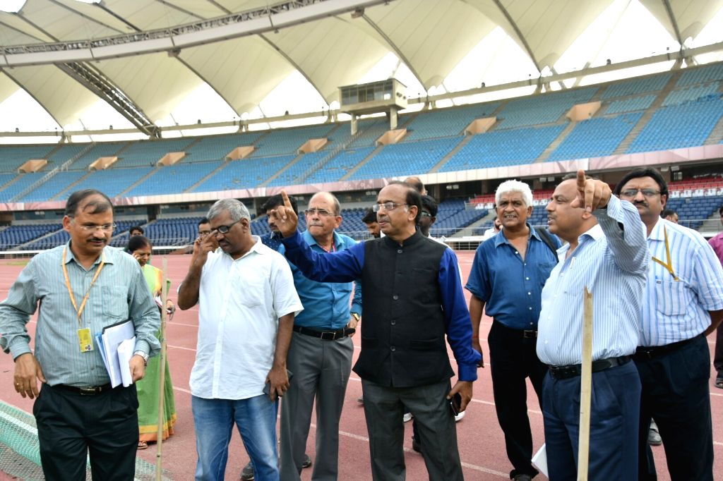 Union Minister Vijay Goel inspects Jawaharlal Nehru Stadium ahead of FIFA U-17 World Cup in New Delhi, on July 5, 2017. - Vijay Goel