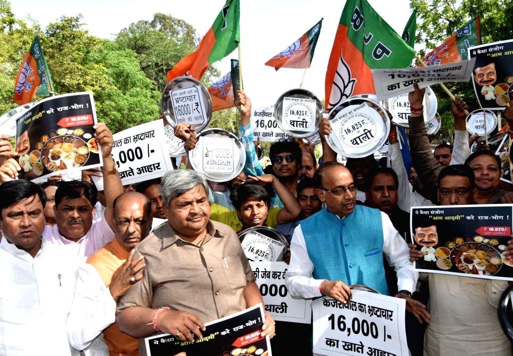 Union Minister Vijay Goel leads a demonstration against Delhi Chief Minister Arvind Kejriwal outside his residence in New Delhi on April 10, 2017. - Vijay Goel and Arvind Kejriwal