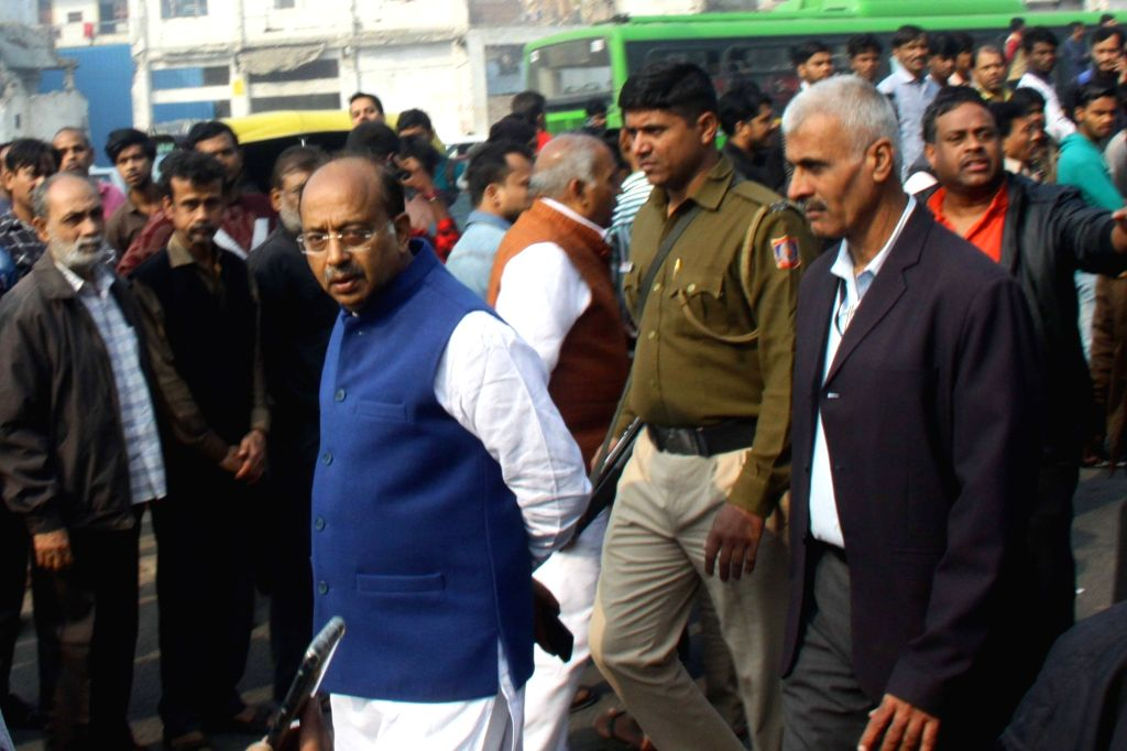 Union Minister Vijay Goel visits the area of a fire incident in which 43 people died in  West Delhi's Rani Jhansi Road area on Dec. 8, 2019. - Vijay Goel