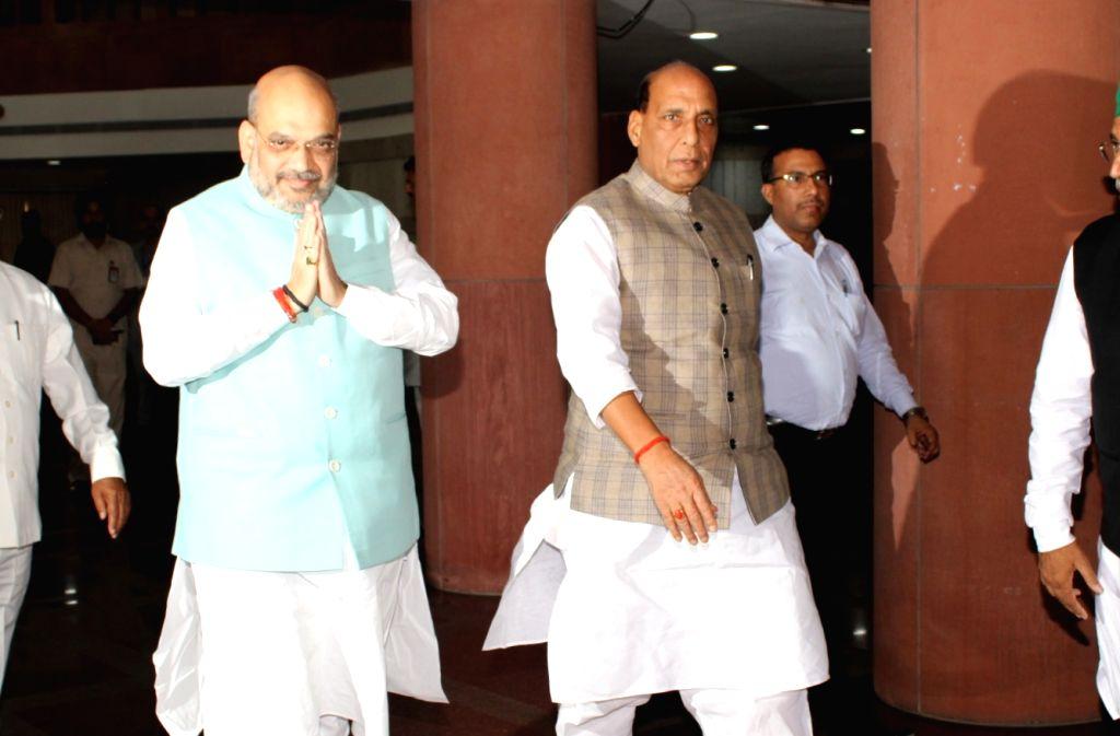 Union Ministers Amit Shah and Rajnath Singh. (Photo: Amlan Paliwal/IANS) - Ministers Amit Shah and Rajnath Singh