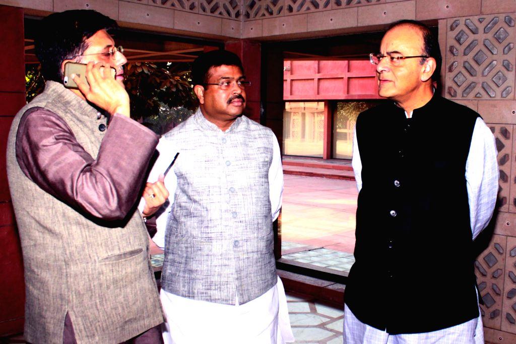 Union ministers Arun Jaitel, Darmendra Pradhan and Piyush Goyal during BJP Parliamentary Party meeting at Parliament House in New Delhi on Nov 22,2016.