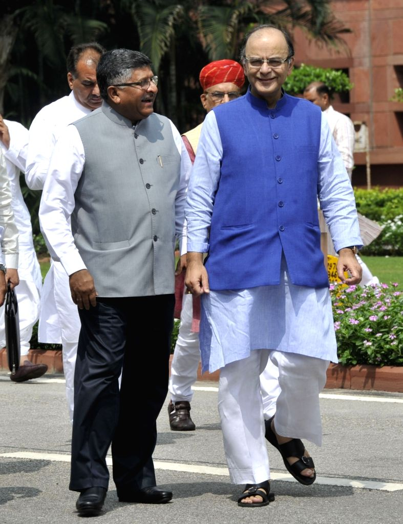 Union Ministers Arun Jaitley and Ravi Shankar Prasad after BJP parliamentary party meeting at Parliament in New Delhi, on Aug 2, 2016. - Ministers Arun Jaitley and Ravi Shankar Prasad