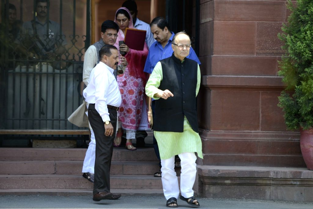 Union Ministers Arun Jaitley, Harshimrat Kaur, Piyush Goyal and Jitendra Singh come out after a cabinet meeting at South Block in New Delhi, on May 18, 2016. - Ministers Arun Jaitley, Harshimrat Kaur, Piyush Goyal and Jitendra Singh