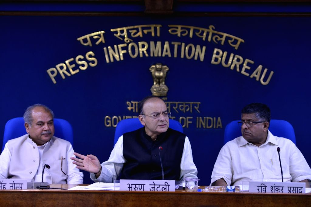 Union Ministers Arun Jaitley, Ravi Shankar Prasad and Narendra Singh Tomar at a press conference in New Delhi on Aug. 16, 2017. - Ministers Arun Jaitley, Ravi Shankar Prasad and Narendra Singh Tomar