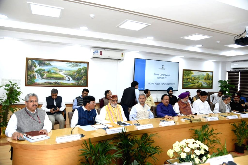 Union Ministers Hardeep Singh Puri, Ashwini Kumar Choubey, Mansukh L. Mandaviya, Nityanand Rai along with Foreign Minister Subrahmanyam Jaishankar meets to discuss and tackle the spreading ... - Subrahmanyam Jaishankar, Hardeep Singh Puri, Ashwini Kumar Choubey, Mansukh L. Mandaviya and Nityanand Rai