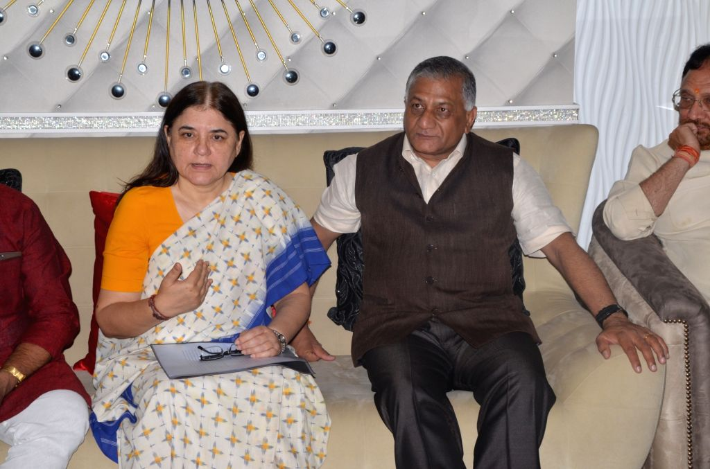 Union Ministers Maneka Gandhi and Gen (Retd.) V K Singh during a programme in Ghaziabad on May 28, 2017. - Ministers Maneka Gandhi, Gen and V K Singh