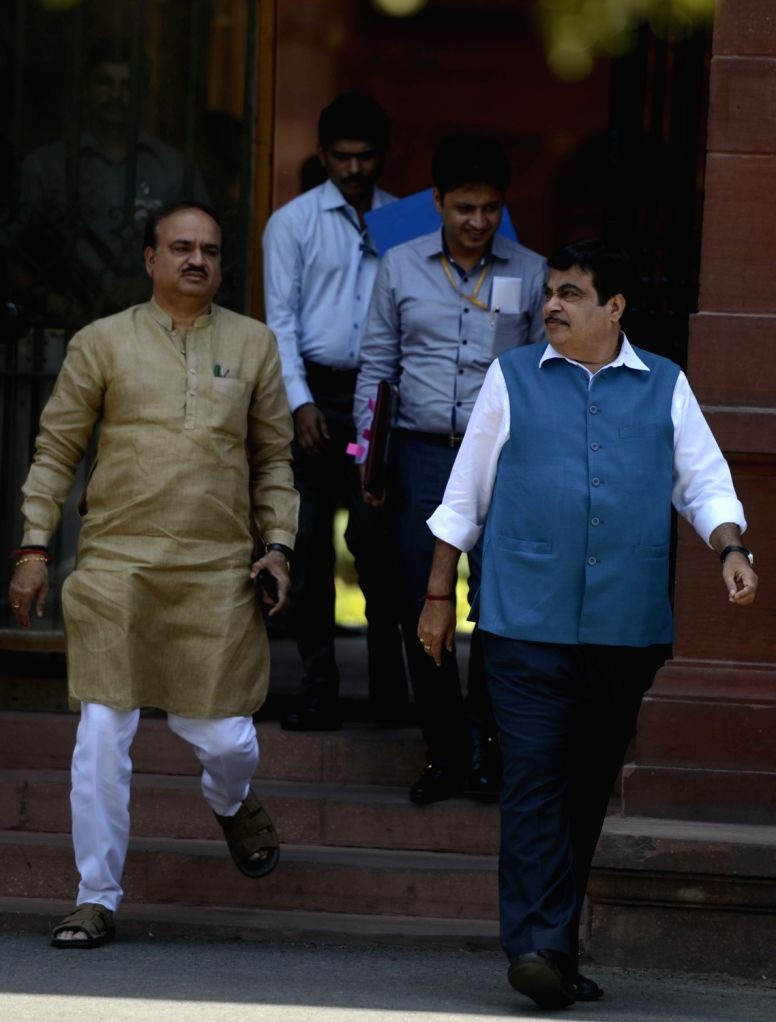 Union Ministers Nitin Gadkari and Ananth Kumar come out after a cabinet meeting at South Block in New Delhi, on May 18, 2016. - Nitin Gadkari and Ananth Kumar