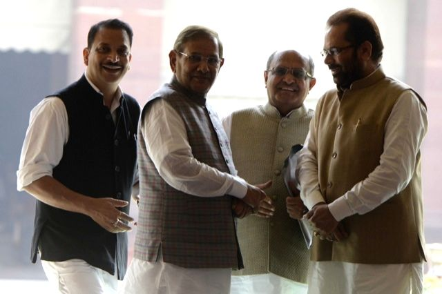 Union Ministers Rajiv Pratap Rudy and Mukhtar Abbas Naqvi with JD(U) chief Sharad Yadav and party GS KC Tyagi after the all party meeting  on Nov 25, 2015. - Rajiv Pratap Rudy, Mukhtar Abbas Naqvi and Sharad Yadav