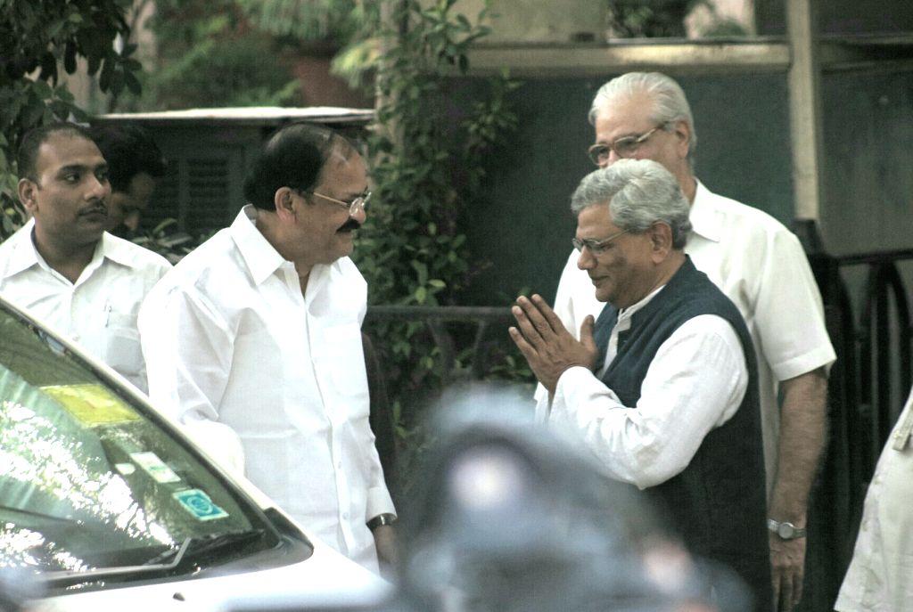 Union Ministers Rajnath Singh and M Venkaiah Naidu meets CPI-M General Secretary Sitaram Yechury in New Delhi on June 16, 2017. - Ministers Rajnath Singh, M Venkaiah Naidu and Sitaram Yechury