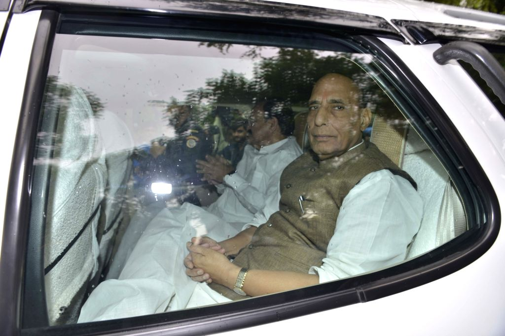 Union Ministers Rajnath Singh and M Venkaiah Naidu leave after meeting Congress chief Sonia Gandhi in New Delhi on June 16, 2017. - Ministers Rajnath Singh, M Venkaiah Naidu and Sonia Gandhi