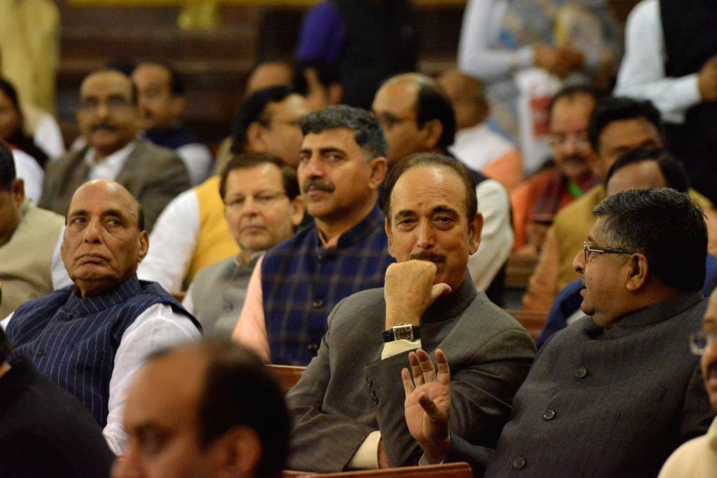 Union Ministers Rajnath Singh and Ravi Shankar Prasad with Congress MP Ghulam Nabi Azad during a remembrance ceremony organised on the 135th birth anniversary of India's first President ... - Ministers Rajnath Singh and Ravi Shankar Prasad