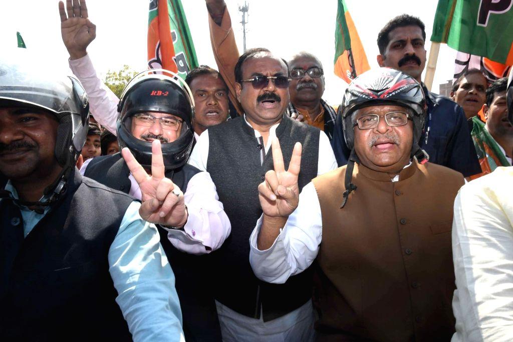 Union Ministers Ravi Shankar Prasad and JP Nadda during a party rally in Patna on March 2, 2019. - Ravi Shankar Prasad and J