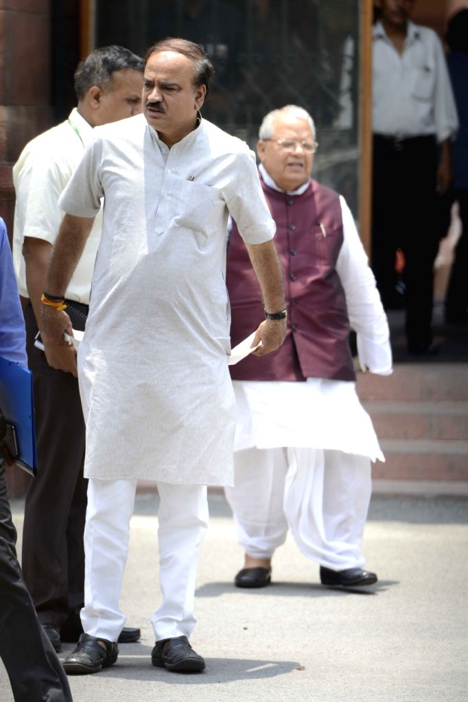 Union Ministers Sushma Swaraj and Ravi Shankar Prasad come out after a cabinet meeting in New Delhi on June 29, 2016. - Sushma Swaraj and Ravi Shankar Prasad