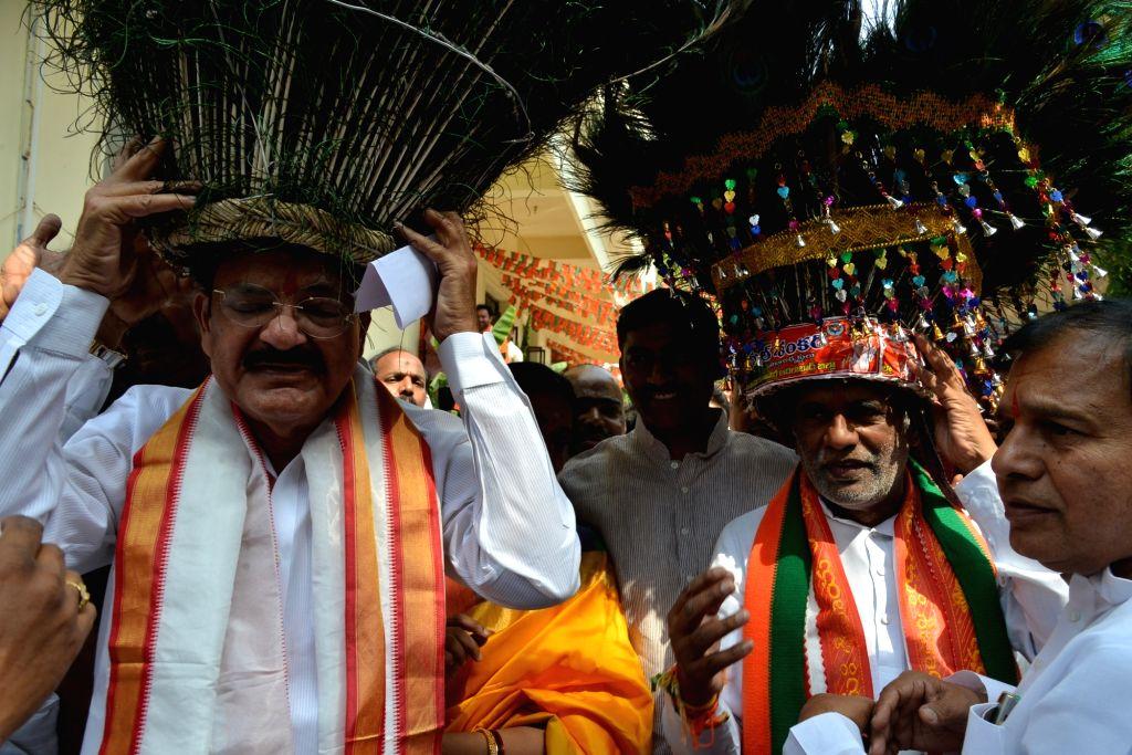 Union Ministers Venkaiah Naidu during a BJP programme in Hyderabad on April 22, 2016. - Ministers Venkaiah Naidu