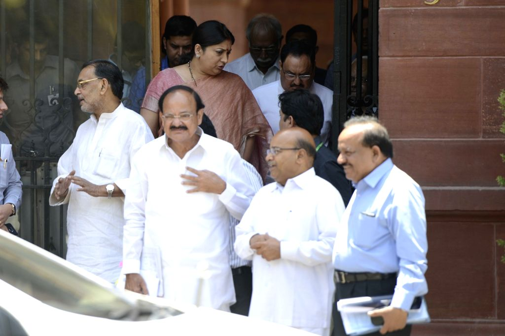 Union Ministers Venkaiah Naidu, Harsh Vardhan, Radha Mohan Singh, JP Nadda and Smriti Irani come out after a cabinet meeting at South Block in New Delhi, on May 18, 2016. - Ministers Venkaiah Naidu, Harsh Vardhan, Radha Mohan Singh, J and Smriti Irani