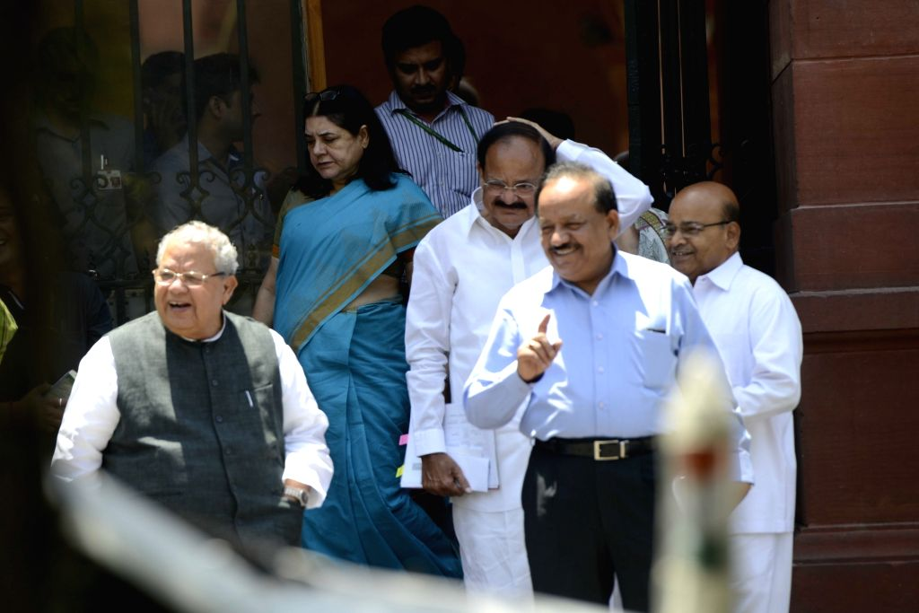 Union Ministers Venkaiah Naidu, Harsh Vardhan, Thawar Chand Gehlot, Kalraj Mishra and Maneka Gandhi come out after a cabinet meeting at South Block in New Delhi, on May 18, 2016. - Ministers Venkaiah Naidu, Harsh Vardhan, Thawar Chand Gehlot, Kalraj Mishra and Maneka Gandhi