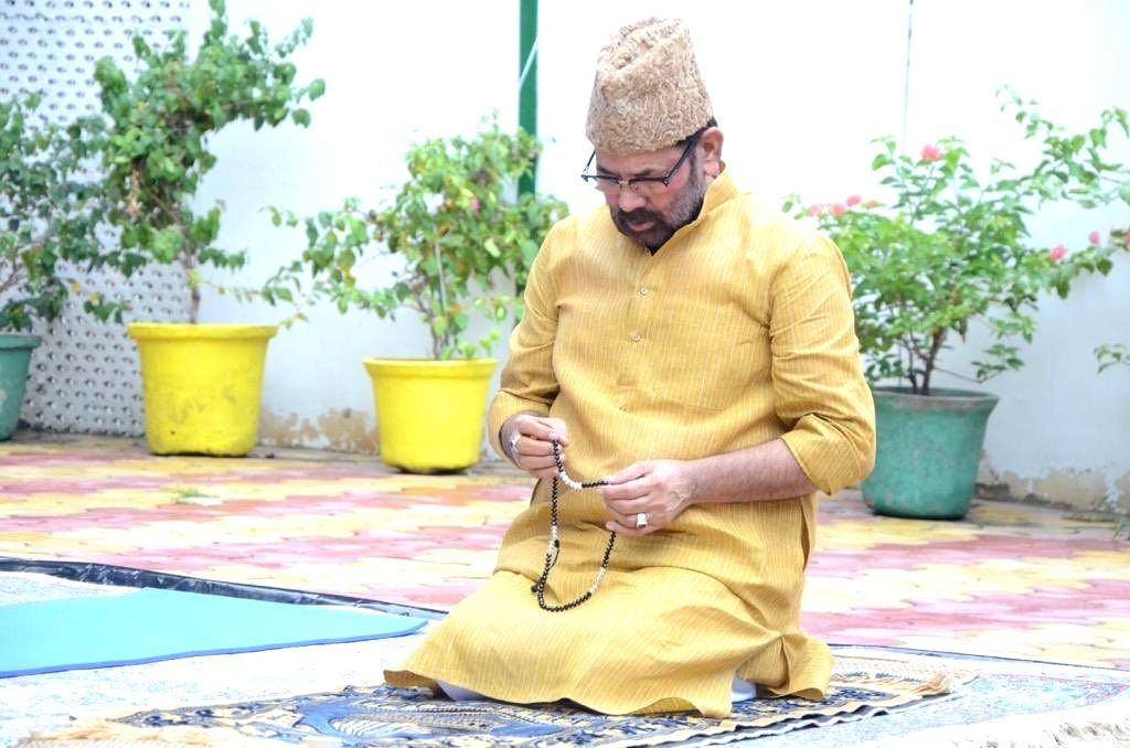 Union Minority Affairs Minister Mukhtar Abbas Naqvi offers namaz on the occasion of Eid-Ul-Zuha at his residence in New Delhi on Aug 1, 2020. - Mukhtar Abbas Naqvi