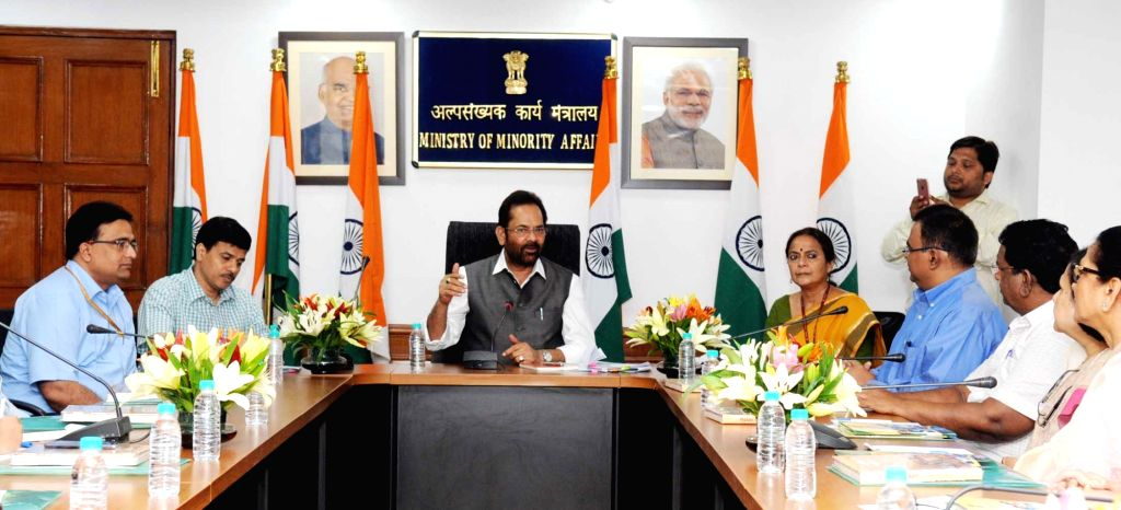 Union Minority Affairs Minister Mukhtar Abbas Naqvi meets a delegation of the Church of North India (CNI) - Delhi Diocese, in New Delhi on May 24, 2018. - Mukhtar Abbas Naqvi