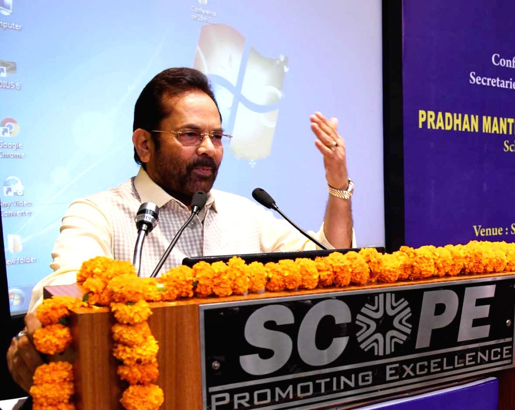Union Minority Affairs Minister Mukhtar Abbas Naqvi addresses at the National Conference of Principal Secretaries/ Secretaries in-charge of States/ Union Territories (UTs) dealing with ... - Mukhtar Abbas Naqvi