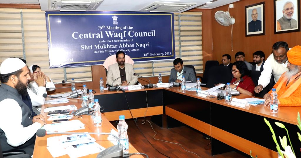Union Minority Affairs Minister Mukhtar Abbas Naqvi chairs the 79th meeting of the Central Waqf Council (CWC), in New Delhi, on Feb 18, 2019. - Mukhtar Abbas Naqvi
