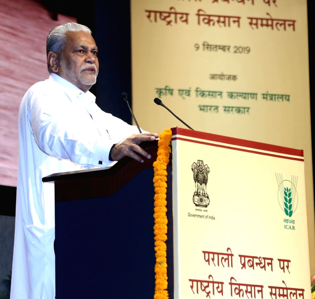 Union MoS Agriculture and Farmers Welfare Parshottam Rupala addresses at the inauguration of National Conference of Farmers on Crop Residue Management, in New Delhi on Sep 9, 2019.