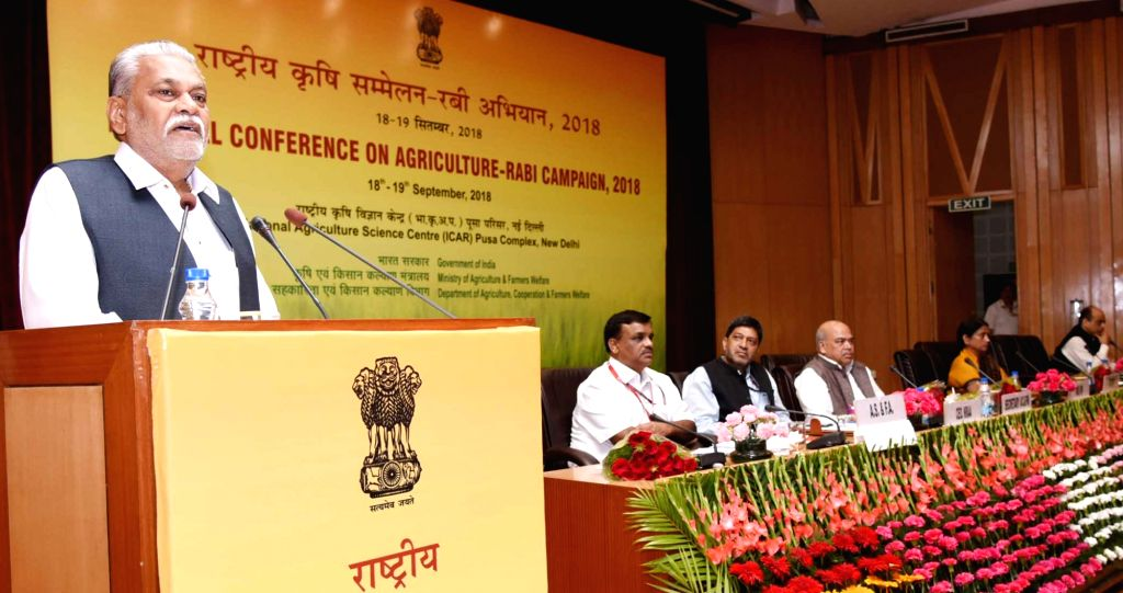 Union MoS Agriculture and Farmers Welfare and Panchayati Raj Parshottam Rupala addresses at the National Conference on Agriculture for Rabi Campaign-2018, in New Delhi on Sept 18, 2018. ...