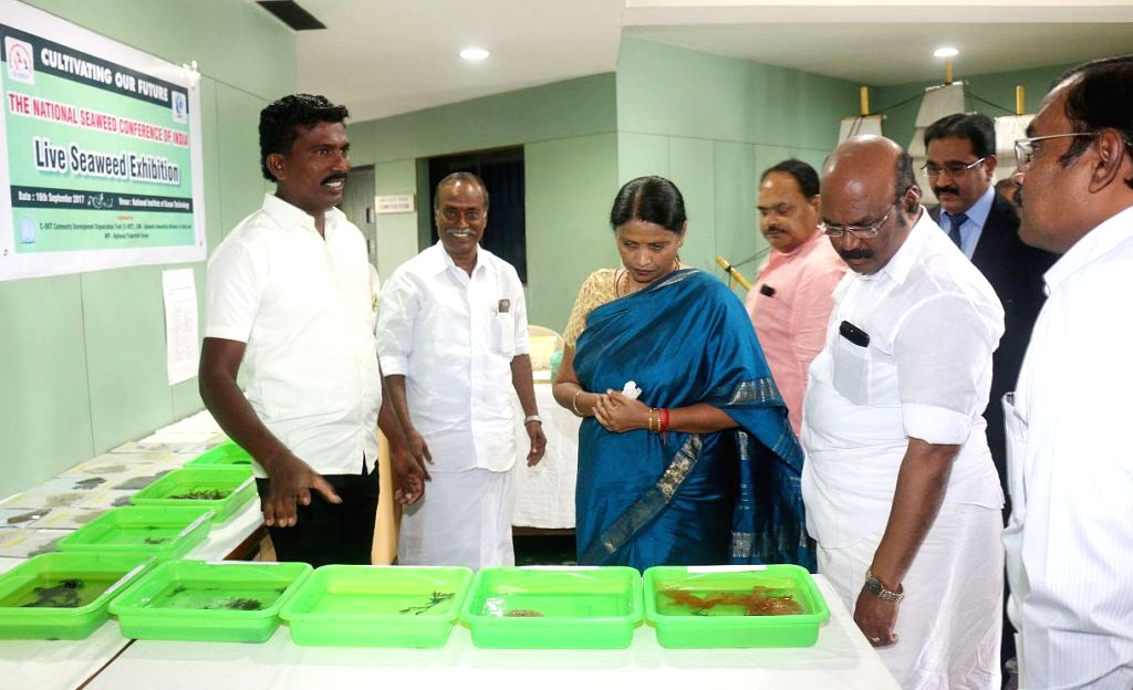 Union MoS Agriculture and Farmers Welfare Krishna Raj visits an exhibition at the National Seaweed Conference of India organised by the National Institute of Ocean Technology (NIOT) in ... - D. Jayakumar