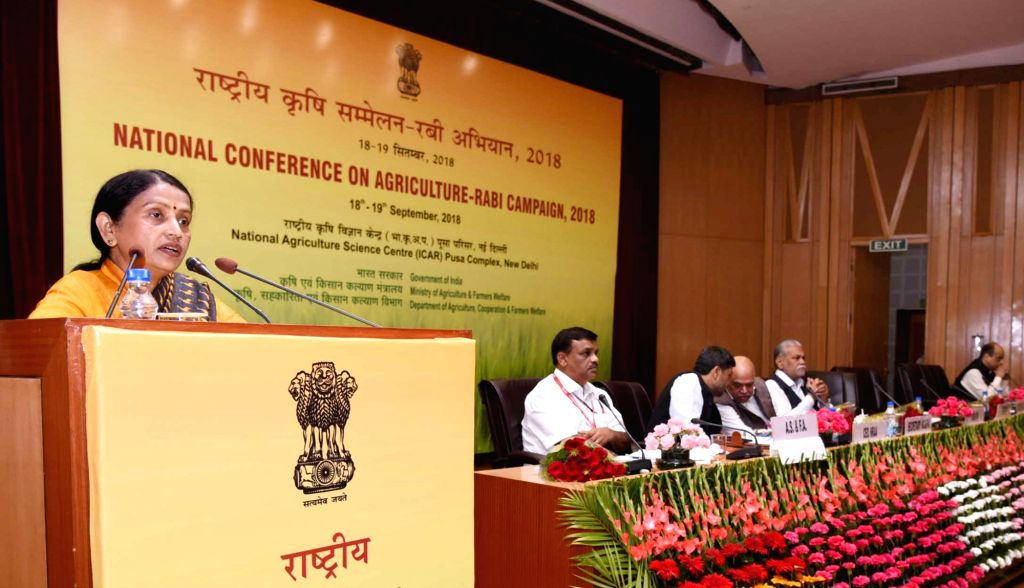 Union MoS Agriculture and Farmers Welfare Krishna Raj addresses at the National Conference on Agriculture for Rabi Campaign-2018, in New Delhi on Sept 18, 2018. Also seen Union MoS ...