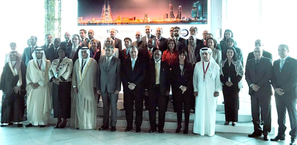 Union MoS Alphons Kannanthanam and other dignitaries at the 109th session of UNWTO Executive Council in Manama, Bahrain on Oct 30, 2018.