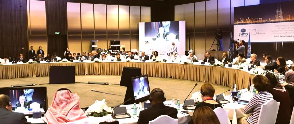Union MoS Alphons Kannanthanam at the 109th session of UNWTO Executive Council in Manama, Bahrain on Oct 30, 2018.