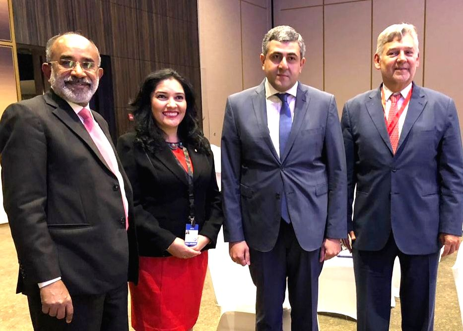 Union MoS Alphons Kannanthanam, UNWTO Secretary General Zurab Pololikashvili and other dignitaries at the 109th session of UNWTO Executive Council in Manama, Bahrain on Oct 30, 2018.